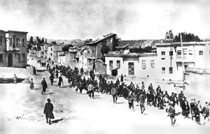Ottoman soliders escorting march of Armenian residents, 1915